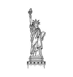 statue liberty sketch vector image