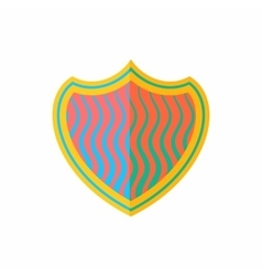 Striped shield icon flat style vector