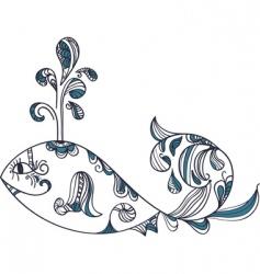 Stylized ethnic whale vector