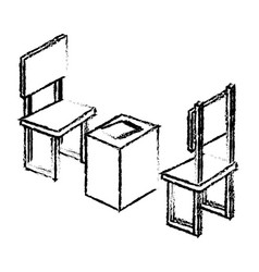 table with chair isometric vector image