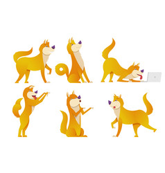 the dog cartoon characters set vector image