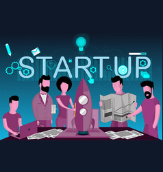 the launch of a new business start up teamwork vector image