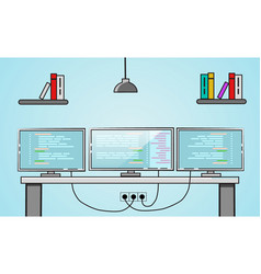 Three monitors setup creative office desktop vector