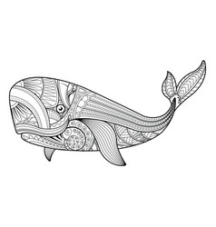 Whale in zentangle style vector