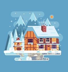 Winter mountain house with chimney vector