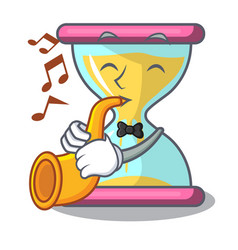 with trumpet modern hourglass on the table cartoon vector image