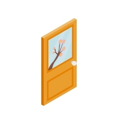 Wooden door with flower on glass icon vector