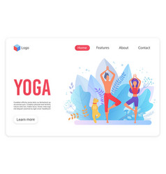 yoga family classes flat landing page template vector image