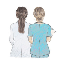 young female doctor and nurse side side vector image