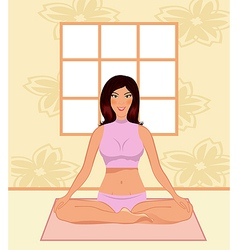 young woman yoga in gym - vector image