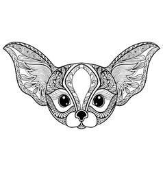 Zentangle stylized desert Fox Hand Drawn isolated vector