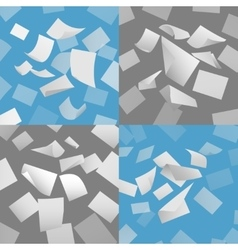 Flying blank paper sheets set vector image