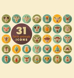 farm animals flat icons set head vector image vector image
