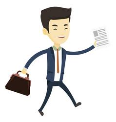 happy business man running vector image