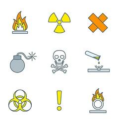 colored outline hazardous waste symbols warning vector image