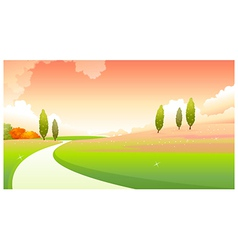 Curved path over green landscape vector image vector image