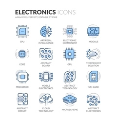 Line Electronics Icons vector image vector image