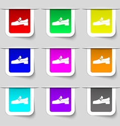 Shoe icon sign Set of multicolored modern labels vector image