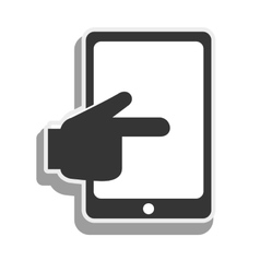 tablet hand touching screen icon graphic vector image