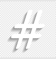 hashtag sign white icon with vector image vector image