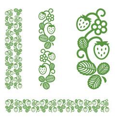 strawberry elegant monochrome ornament vector image vector image