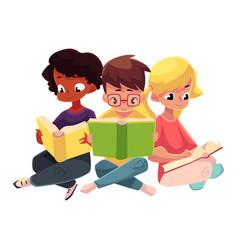 three children boys and girls reading books vector image