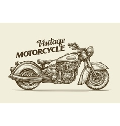 Vintage motorcycle hand drawn sketch retro vector