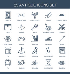 25 antique icons vector