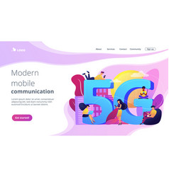 5g network concept landing page vector image