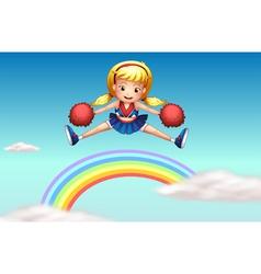 A cheerer above the rainbow vector
