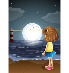 A girl watching the lighthouse in the beach vector