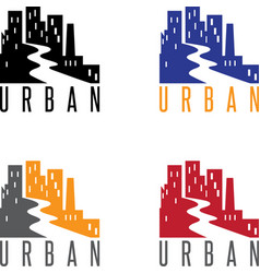 abstract icon design template of urban landscape vector image
