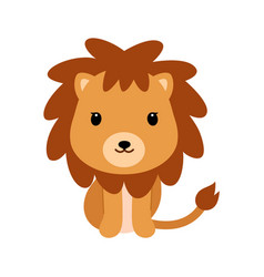 Adorable little lion in flat style vector
