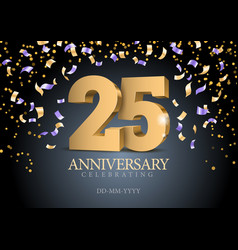 Anniversary 25 gold 3d numbers vector