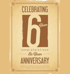 Anniversary retro background 6 years vector