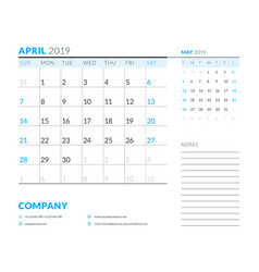 april 2019 week starts on sunday calendar planner vector image