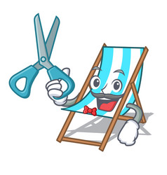Barber beach chair character cartoon vector