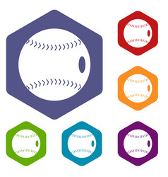 Baseball ball icons set hexagon vector
