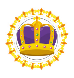 bejeweled crown round icon vector image