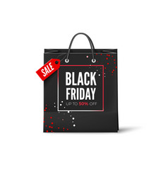 black friday sale advertisement banner black bag vector image