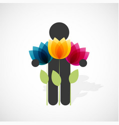 black silhouette of a man holds three colorful vector image