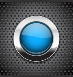 Blue button on metal perforated background round vector