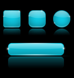 Blue buttons with reflection on black background vector