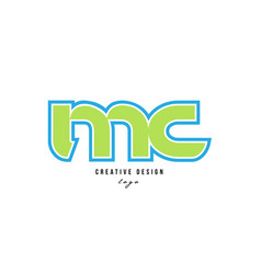 Blue green alphabet letter mc m c logo icon design vector