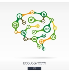 Brain concept with eco earth green recycling vector image