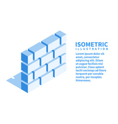 Brick wall firewall icon isometric template vector