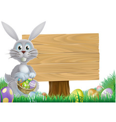 Bunny and easter message sign vector