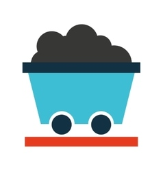Cart mining transport icon vector