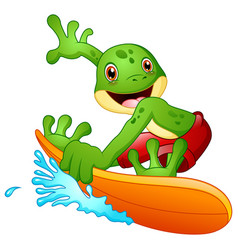 Cartoon frog surfing vector