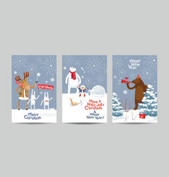 Christmas cards set - winter forest vector